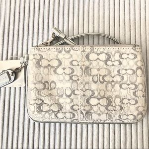 Coach Silver and Gray Wristlet NWT